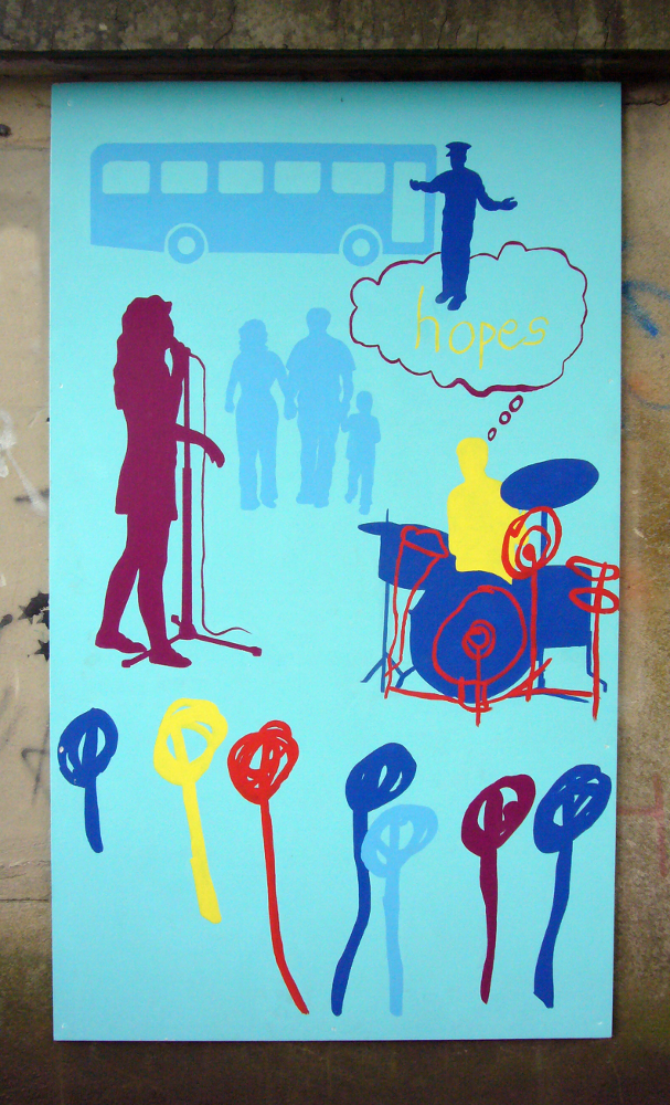 This section is all on a pale blue background. At the top there is a silhouette of a bus. A dark blue silhouette of a driver wearing a cap stands next to the bus, with arm outstretched welcoming people on board. This figures stands on top of cloud with the word 'hopes' written inside it. In the middle there are figures of a man, woman and child holding hands. Next to this is a purple figure singing in front of microphone. To the right there is a person playing drums. This one shows a simple line drawing on top of a silhouette of a real person. At the bottom there are multicoloured lines with circles on top.