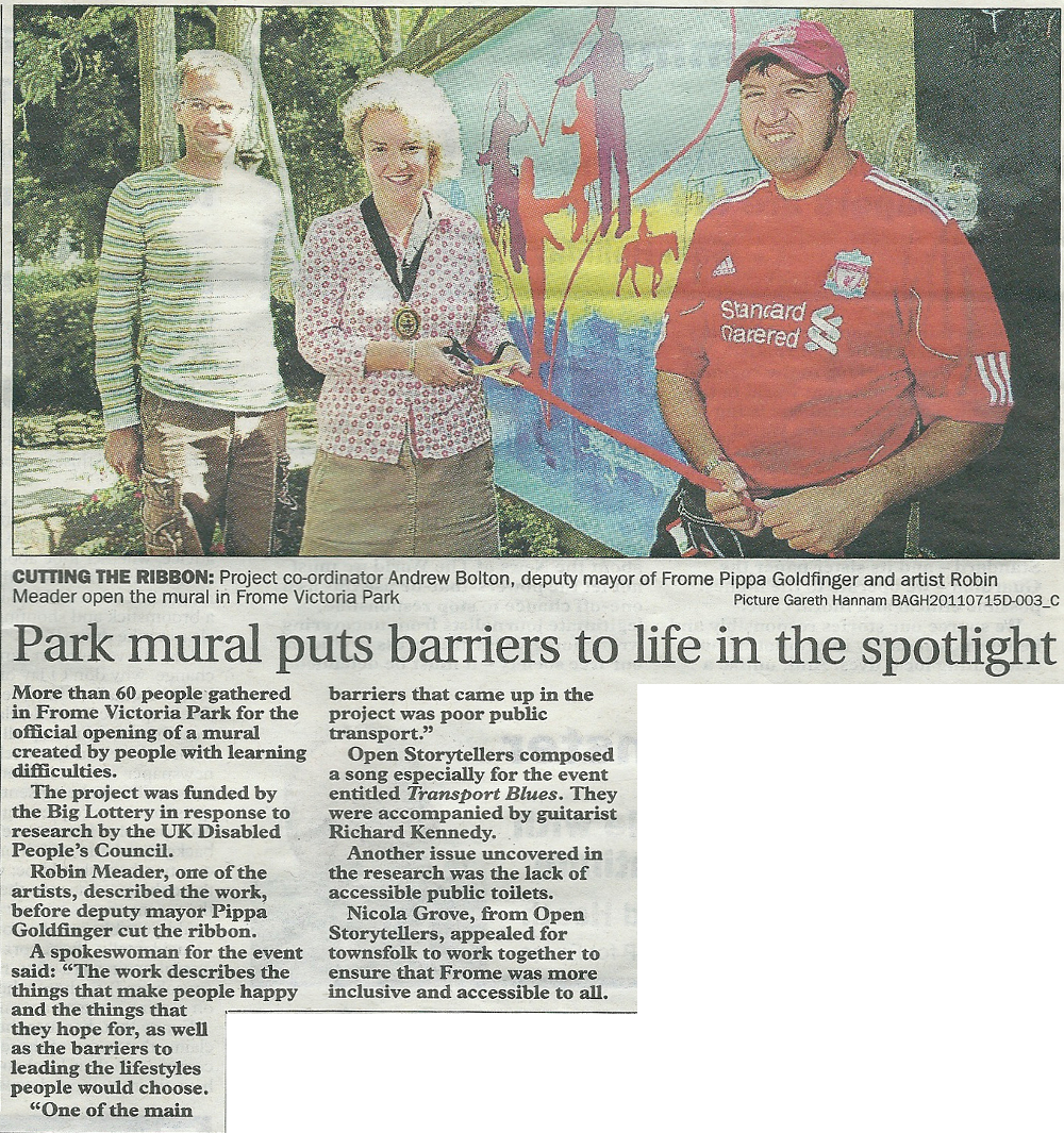 Article titled 'Park mural puts barriers to life in the spotlight'