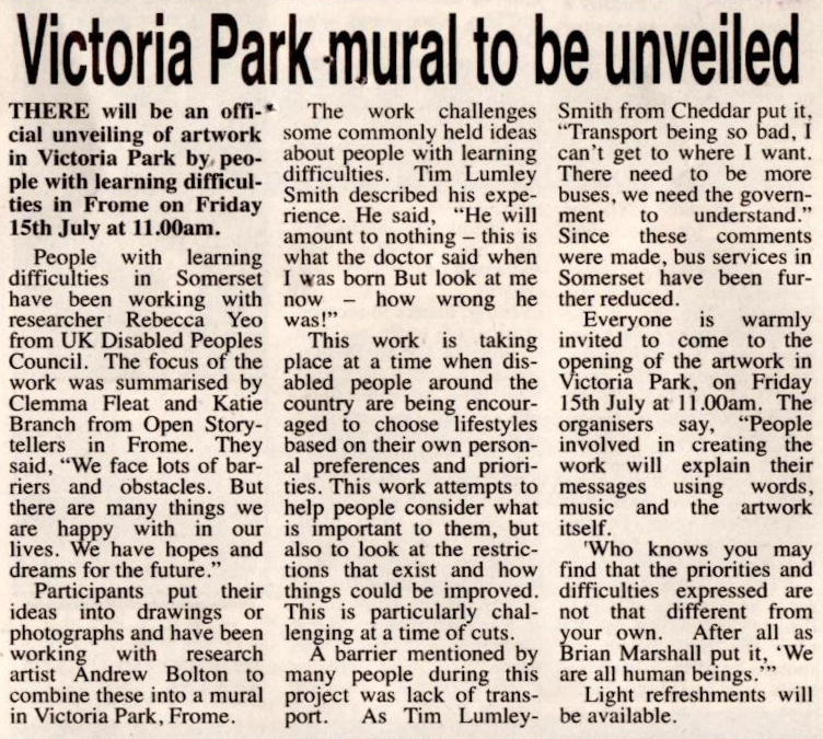 Article titled 'Victoria Park mural to be unveiled'