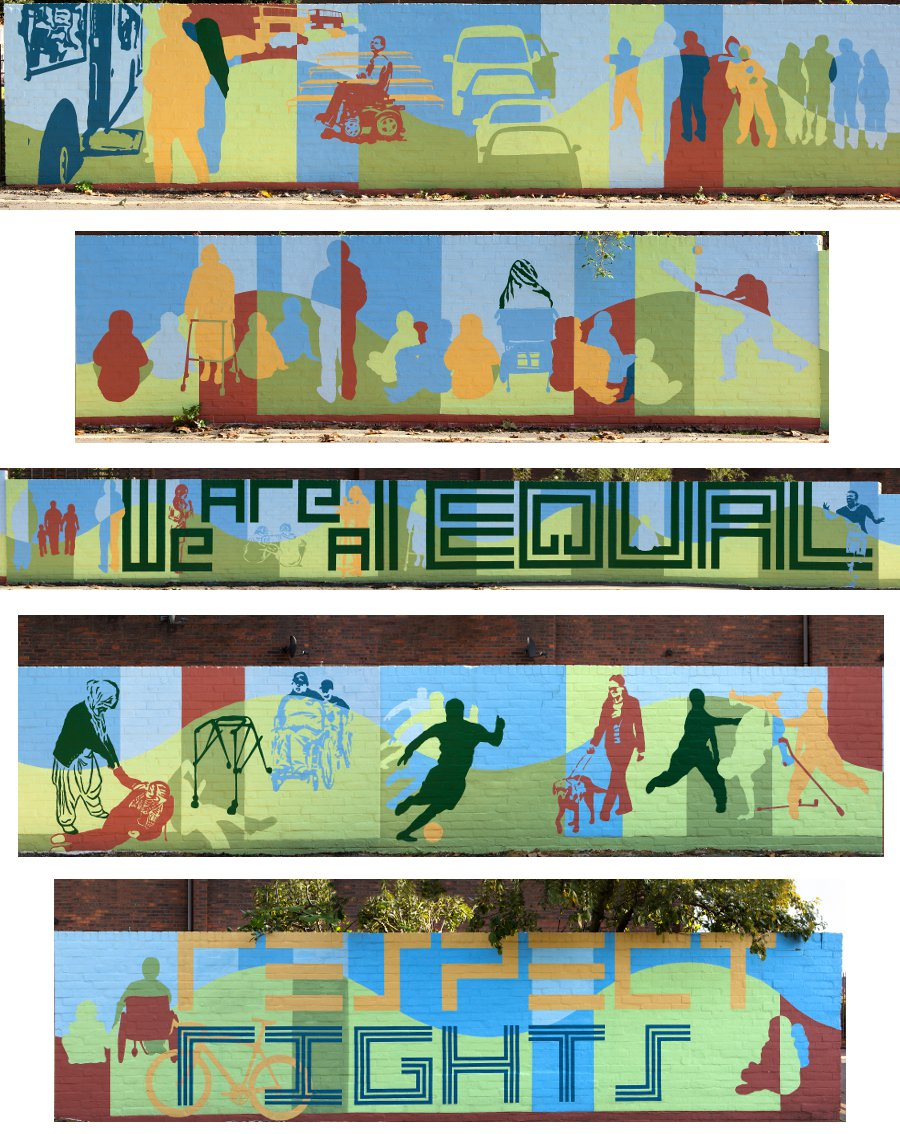 This mural has shades of blue along the top half and shades of green along the bottom half. There are many human silhouettes in shades of blue, green, yellow and red. Some figures are standing, others are sitting, some in wheelchairs, some on the grass, alone or in groups.  In one section a wheelchair user struggles to get on a bus. In another section one figure appears to be attacking another.  One figure has fallen with her walking frame beside her, another person is helping her up. The words We Are All Equal and Respect Rights are written in big letters.
